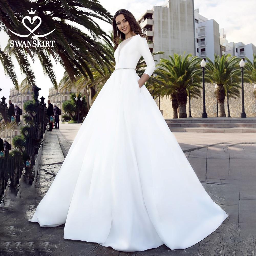 Long Sleeve Satin Wedding Dress 2019 Swanskirt Crystal Belt A-Line With Pocket Bridal Gown Princess Vestido De Novia TZ27