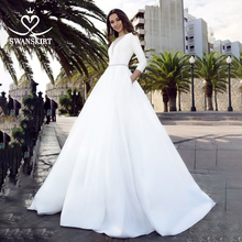 Long Sleeve Satin Wedding Dress 2020 Swanskirt Crystal Belt A Line with pocket Bridal Gown Princess Vestido de novia TZ27