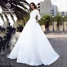 Robe de mariée en Satin à manches longues 2020 jupe en cristal ceinture a ligne avec poche robe de mariée princesse Vestido de novia TZ27