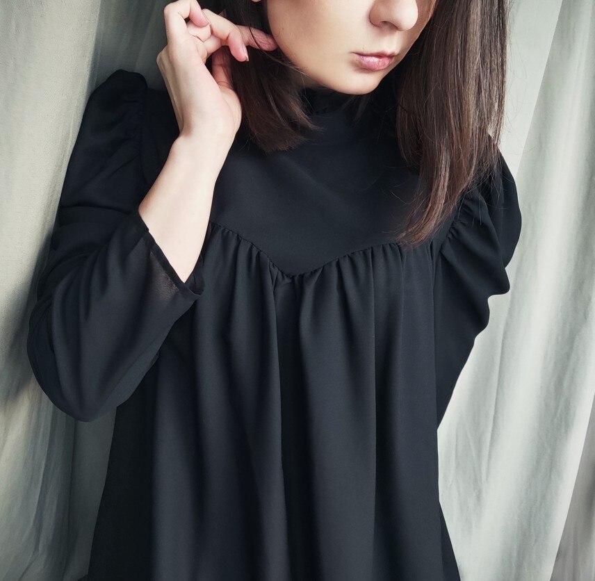 Hot 2019 autumn new fashion women's temperament commuter puff sleeve small high collar natural A word knee Chiffon dress reviews №1 342801