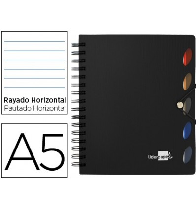 SPIRAL NOTEBOOK LEADERPAPER A5 MICRO EXECUTIVE PLASTIC CAP 100H 80GSM HORIZONTAL 5 SEPARATORS WITH GOMILLA BLACK