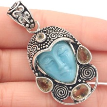 53x30mm Special Big 12.9g Goddess Blue Turquoise Face, Smokey Topaz Gift Silver Pendant