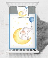 Else Blue Balloon Yellow Moon Star on Elephant 2 Pcs 3D Print Cotton Satin Single Bedspread Bed Cover Gift Combine Pillow Cover|Duvet Cover| |  -