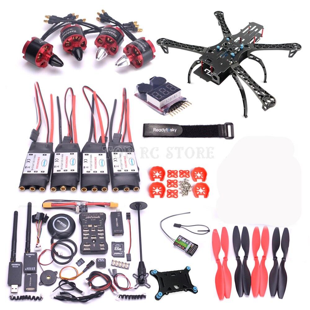 X500 500 500mm Quadcotper Frame Kit Pixhawk 2.4.8 32 Bit Flight Controller M8N GPS 433Mhz telemetry Mini OSD PPM RGB I2C(China)
