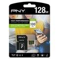 Карта памяти Micro SD с адаптером PNY 100 МБ/с./с черный