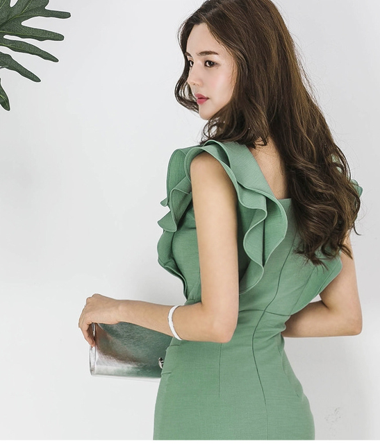 2021 summer women's dress, Korean version, slim fit, ruffle, double breasted, buttocks, thin, medium and long bottomed dress 3