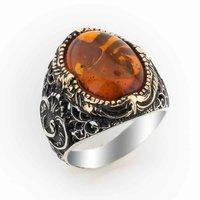 925 sterling Silver Amber Gemstone Vav Detailed Ring