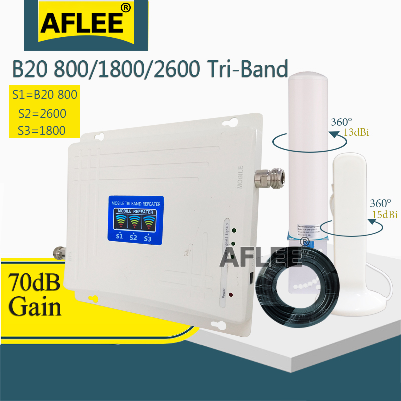 B20 800 1800 2600 Tri-Band 4G Cell Phone Cellular Amplifier 4G Repeater GSM 2g 4g Mobile Signal Booster LTE DCS LTE 4G Repeater