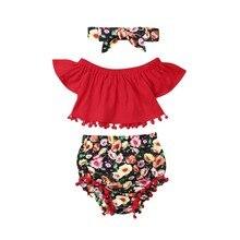 Летний комплект из 3 предметов для маленьких девочек от 0 до 24 месяцев, красный топ с расклешенными короткими рукавами и кисточками + шорты с ...