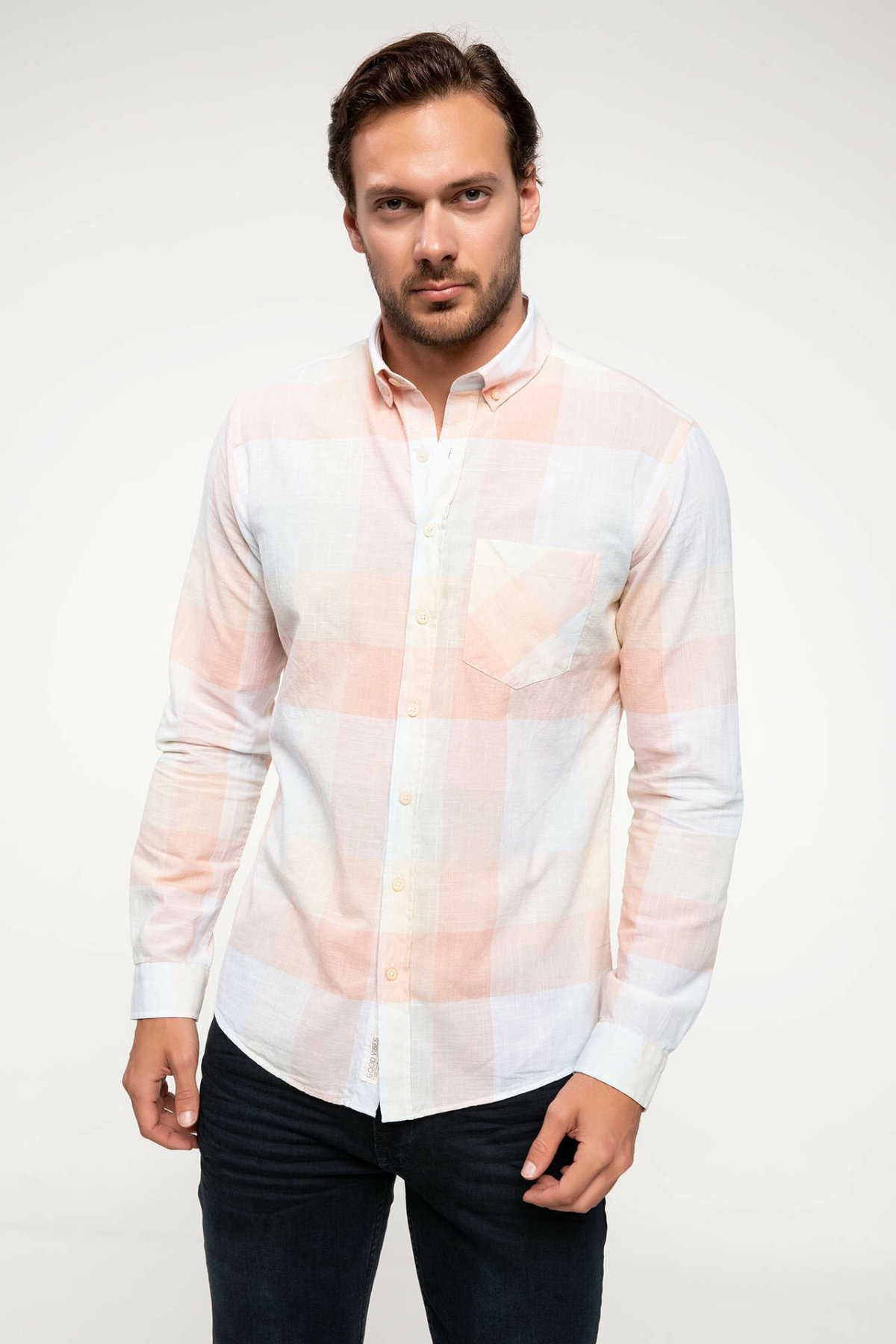 DeFacto Smart Casual Men Blue Plaid Shirt Woven Top Long Sleeve Classical Pocket Cotton Shirt Tops-I4652AZ18SM