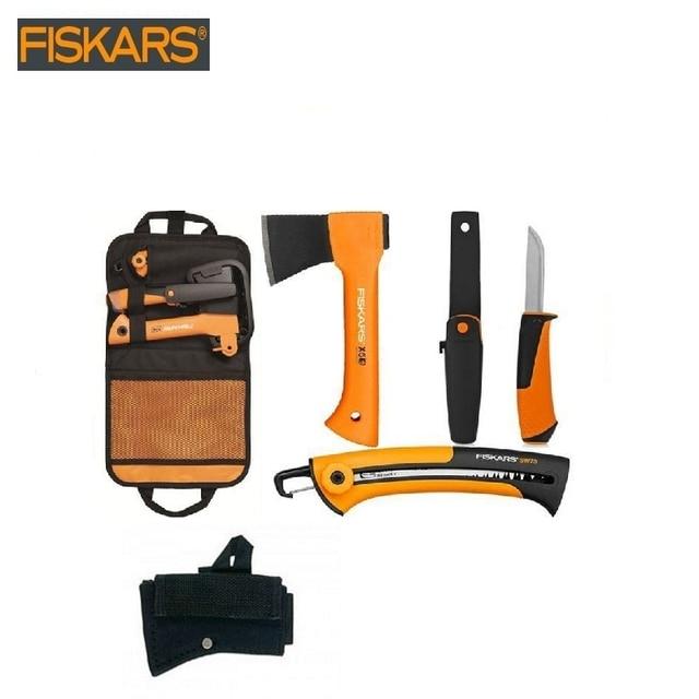 Набор: топор универсальный Х5 + нож для тяжелых работ 1023619 + пила 123870 в сумке-чехле + чехол для топора в подарок