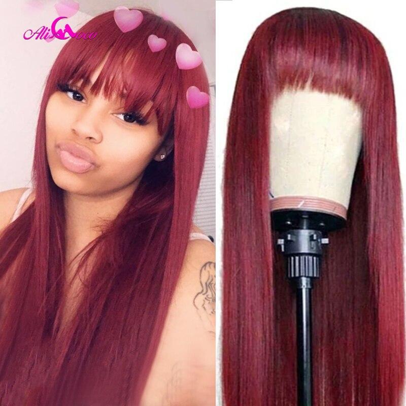 Perucas brasileiras do cabelo humano da máquina completa das perucas do cabelo humano com franja perucas retas do cabelo humano de coco de ali com franja 99j peruca vermelha com franja