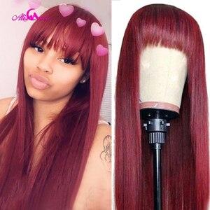 Али Коко прямые человеческие волосы парики с челкой 99J красный парик с челкой цветные человеческие волосы парики полная машина бразильские ...