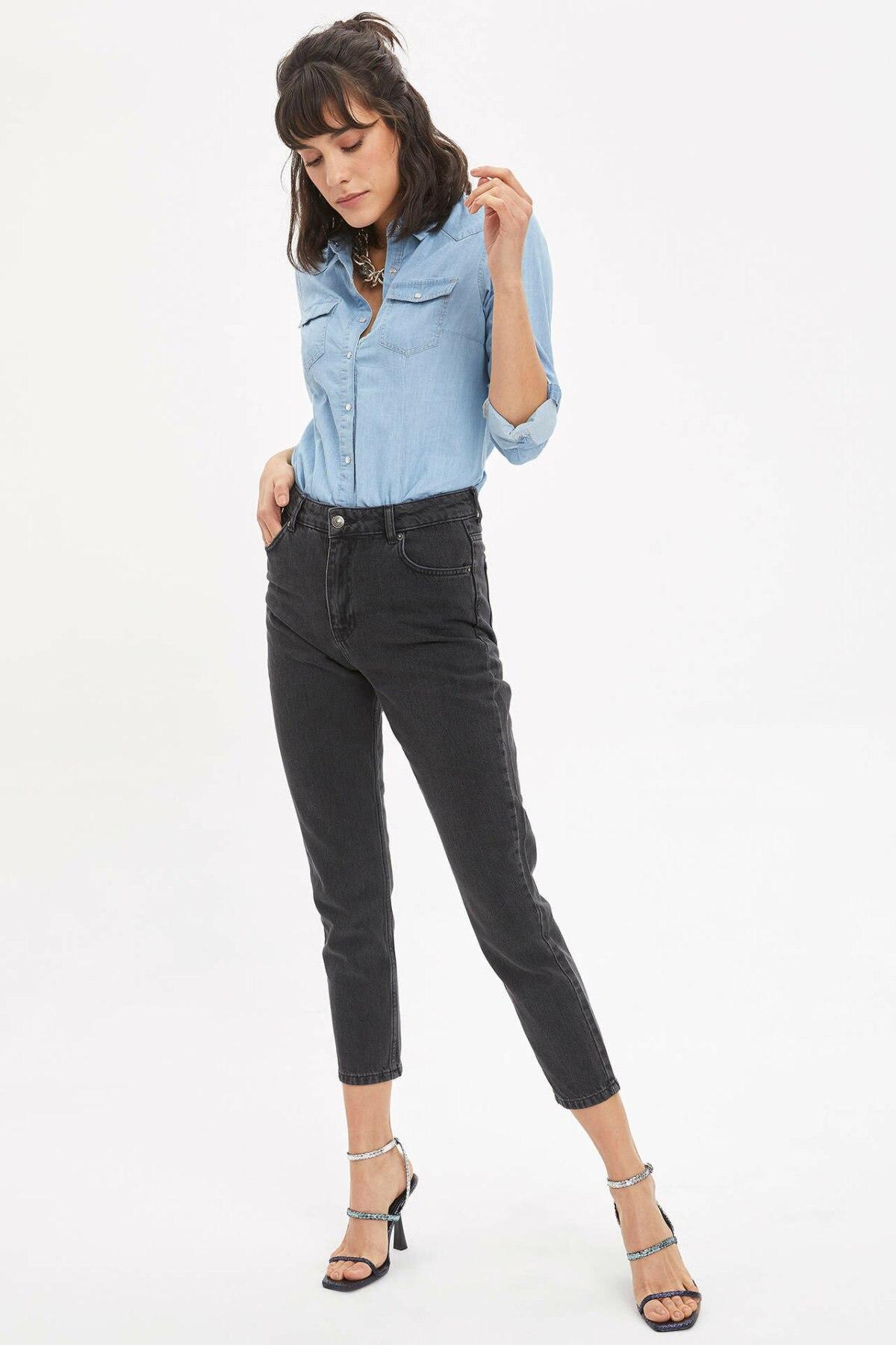 DeFacto Woman Black Denim Jeans Women Spring Denim Pencil Pants Female Bottom Jeans Trousers-J0050AZ20SP