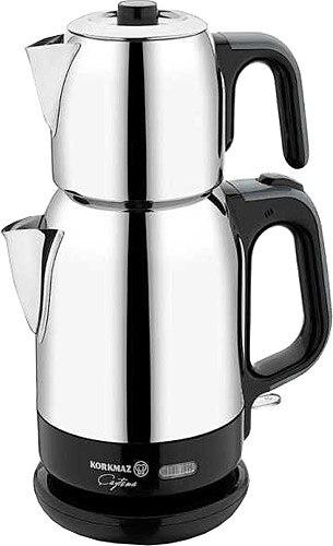 Korkmaz A331-03 Steel Tea Machine Turkish Electric Teapot, Tea Kettle Machine Maker, Samovari Turkish Tea Maker, Tea Urn