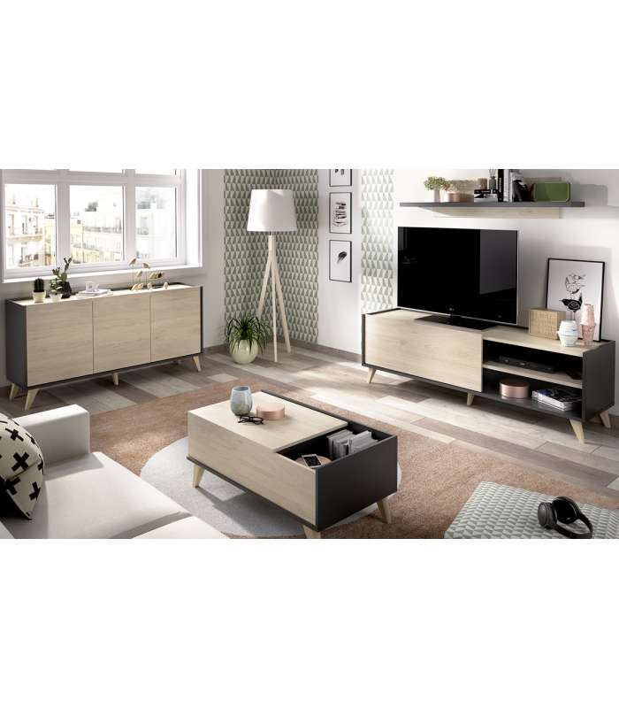 Lounge Set Ness 3: Sideboard, TV Cabinet, Shelf And Table Center
