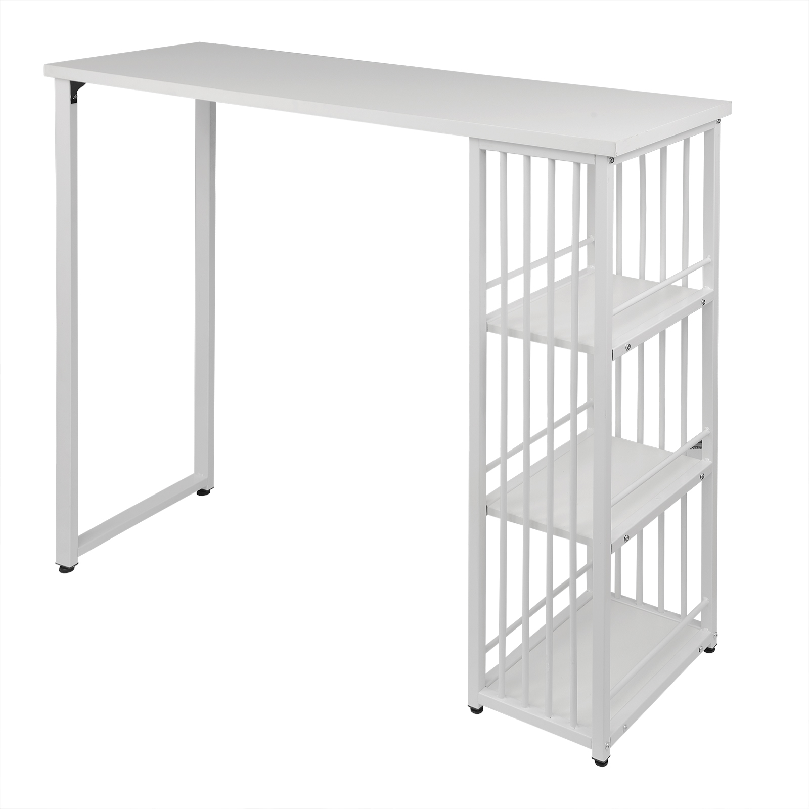 1PC Kitchen Bar Counter Table Bistro Table Breakfast Dining Coffee Table with 2-Tier Storage Rack Shelves for Beverage Display