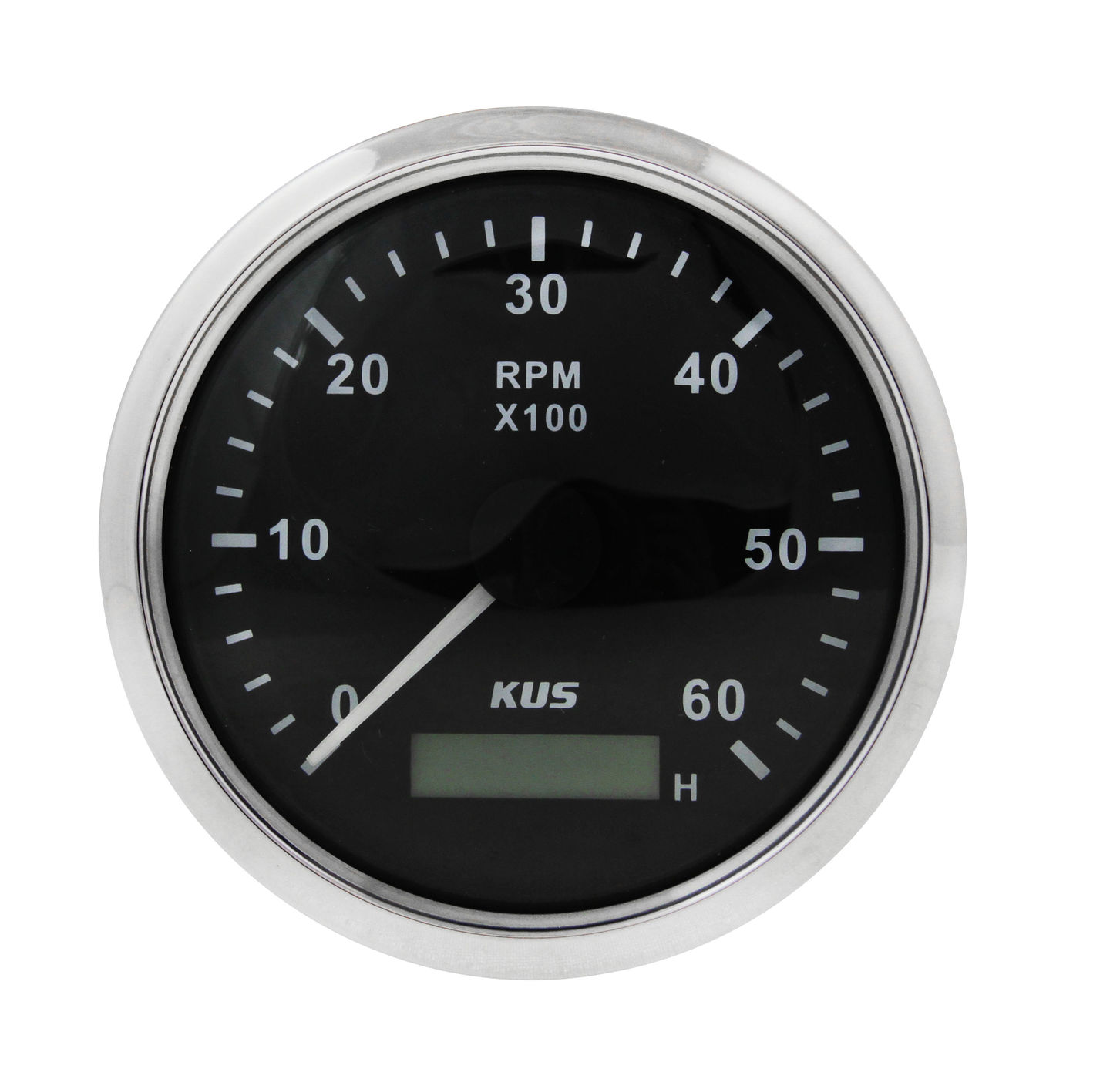 Tachometer 0-6000 Rpm With Hour Meter Divider 0.5-250, Black Dial, Stainless Bezel, D. 85mm Ky07000