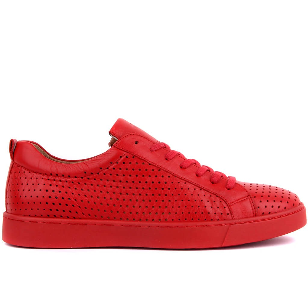 Sail Lakers-Red Leather Men 'S Casual Shoes