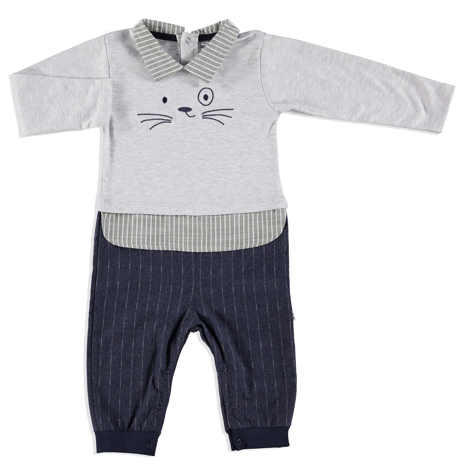 Ebebek BabyZ Baby Shirt Detail Embroidered Footless Romper
