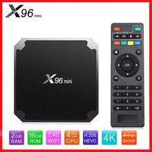 X96mini android 9.0 smart tv box x96 mini amlogic s905w quad core 2.4ghz wifi 2gb 16gb 1g/8g media player conjunto-caixa superior