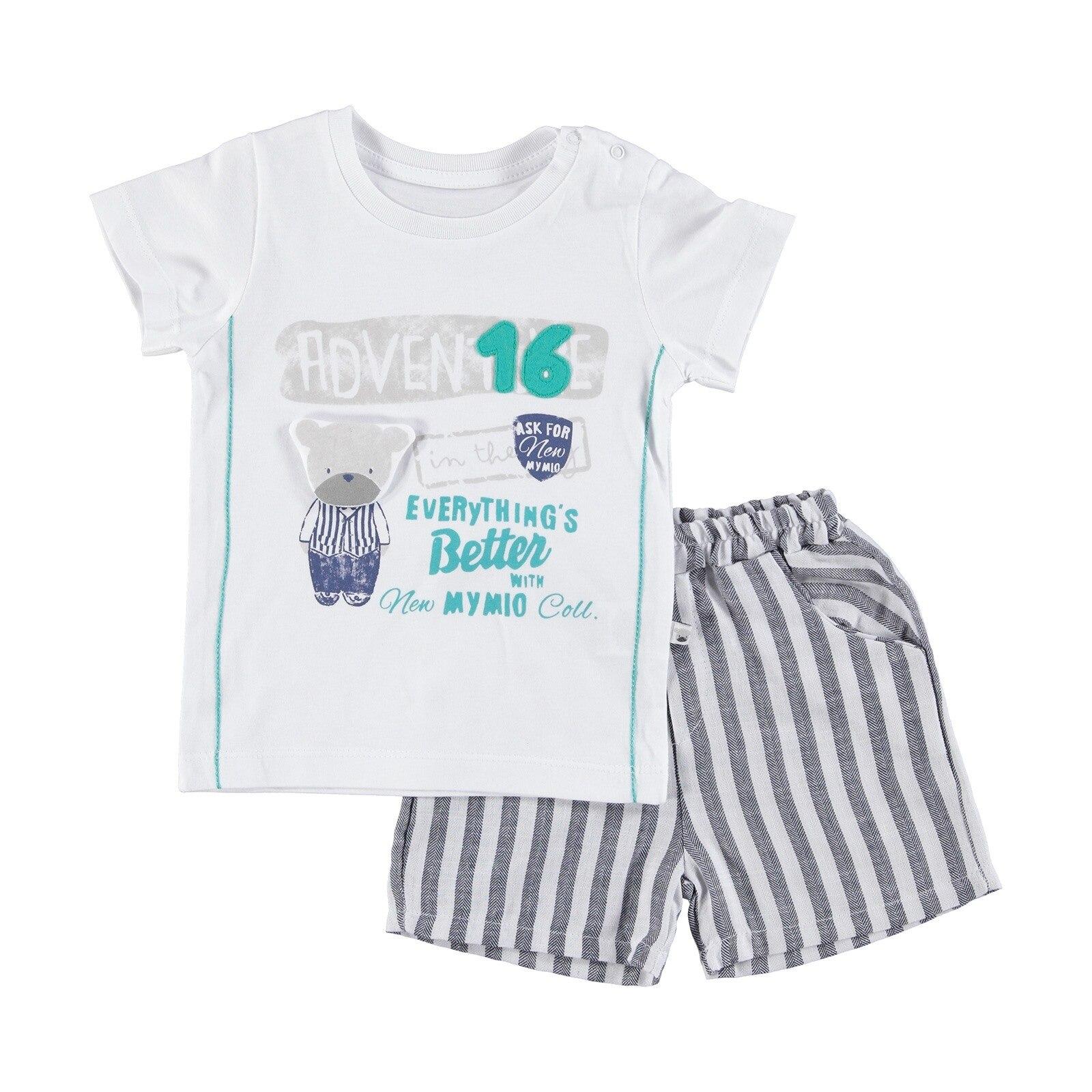 Ebebek Mymio Gentleman Bear Baby Boy Tshirt Shorts 2 Pcs Set