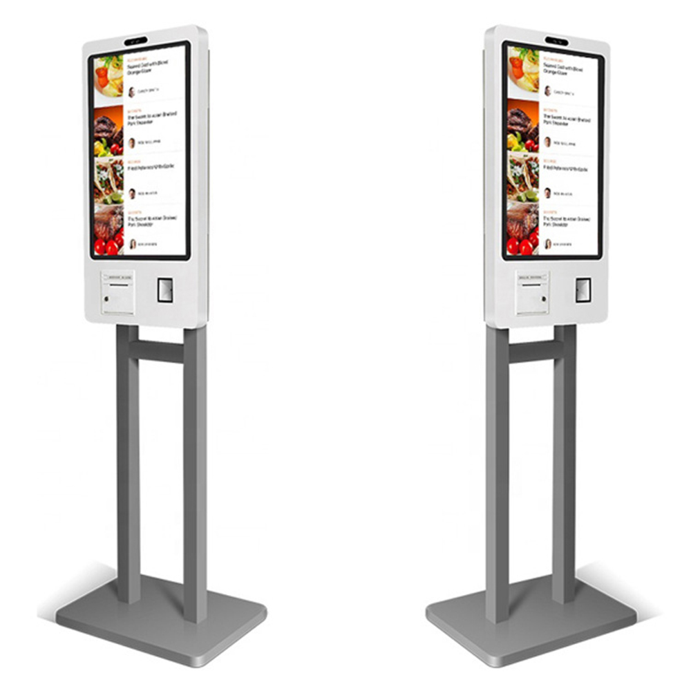 32 Inch Standing Self Ordering Service Kiosk With 80mm Termal Printer, Barcode Reader, Card Reader Optional, Customized