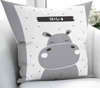 Else Gray White Hippo Scandinavian Nordic 3D Print Microfiber Throw Pillow Case Cushion Covers  Square Hidden Zipper 45x45cm