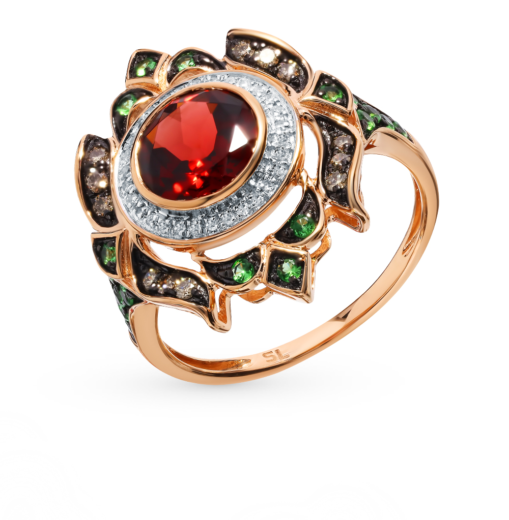 Gold Ring With Cognac Diamonds, цаворитами And Garnet Sunlight Sample 585