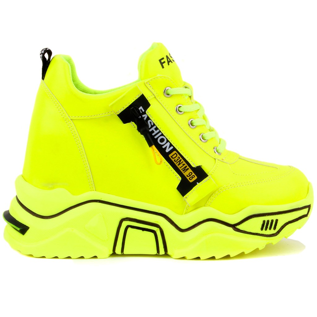 Moxee-Fluorescent Yellow Color High Bottom Women 'S Casual Shoes