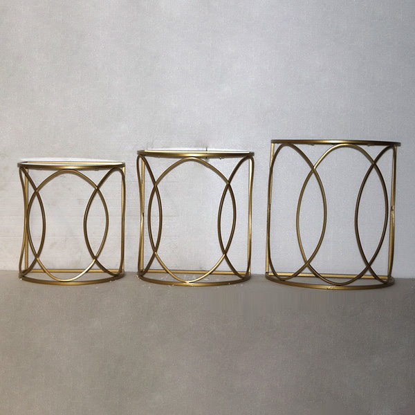 Set Of 3 Small Tables Golden (50 X 30 X 55 Cm)