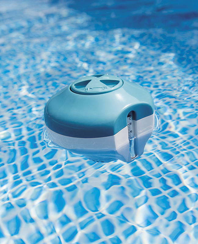 Chlorine Dispenser With Built In Thermometer 2 In 1 For Swimming Pool, Intex Floating Dispenser For Chemicals, Item No. 29043