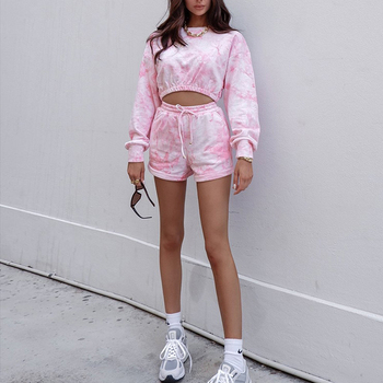Pink Tie Dye Two Piece Sets Women 2020 Autumn Sexy Long Sleeve Crop Tops T-shirt High Waist Shorts Casual Tracksuit Outfits Set