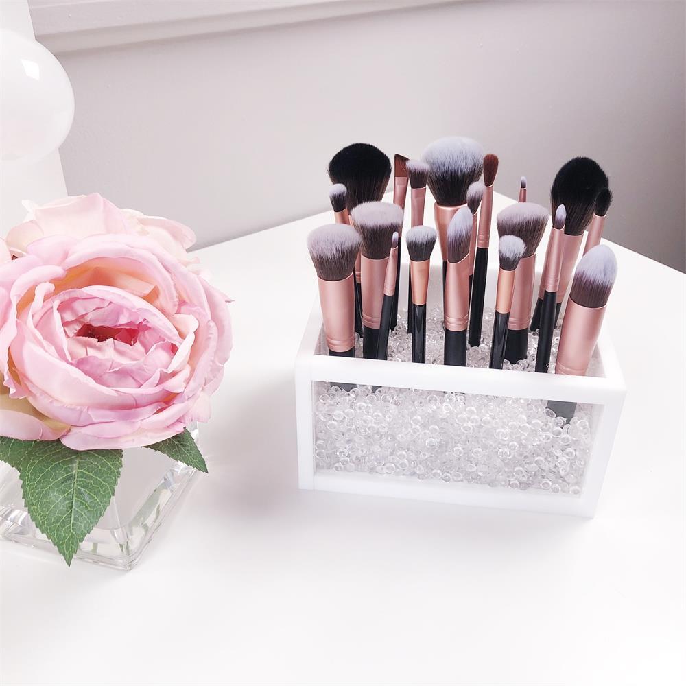 Acrylique maquillage brosse titulaire stockage cosmétique organisateur pour maquillage brosses accessoires blanc clair salle de bain vanité comptoir