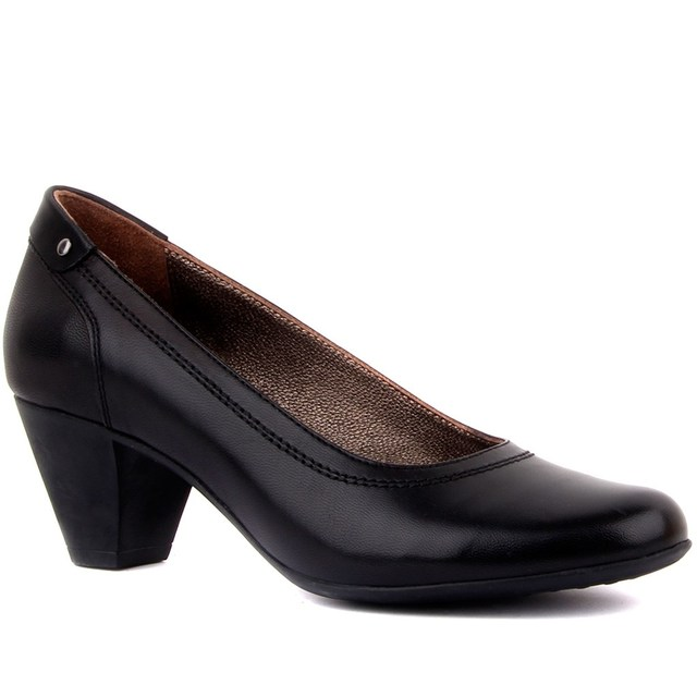 İloz-Black Leather Women's High-Heeled Shoes