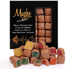 Rose, Mint, Orange and Strawberry Flavored Turkish Delight Lokum Covered with Chocolate in Gift Box Tin, 300g, 20 Pieces, Mughe
