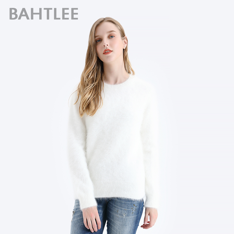 BAHTLEE Women Angora Pullovers Sweater Pure Color  Autumn Winter Wool Knitted Jumper Long Sleeves O-Neck Suit Style Basic Style