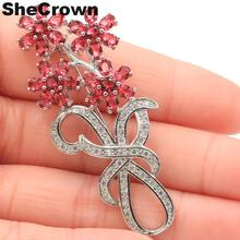 58x25mm Beautiful Flowers Shape Created Raspberry Rhodolite Garnet CZ Wedding European 2019 Silver Brooch