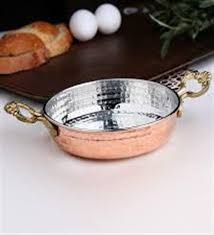 Traditional Turkish Copper Egg Omelette Pan, Sahan, Fryer Pot With Brass Handles