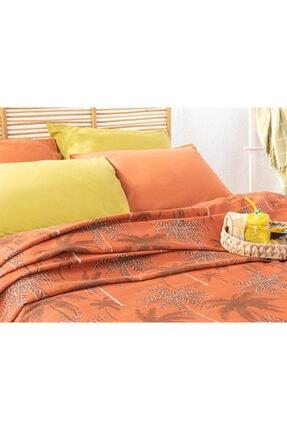 English Home Glitter Palm Printed Double Pique 200x220 Cm Burn Orange TYC00144941587