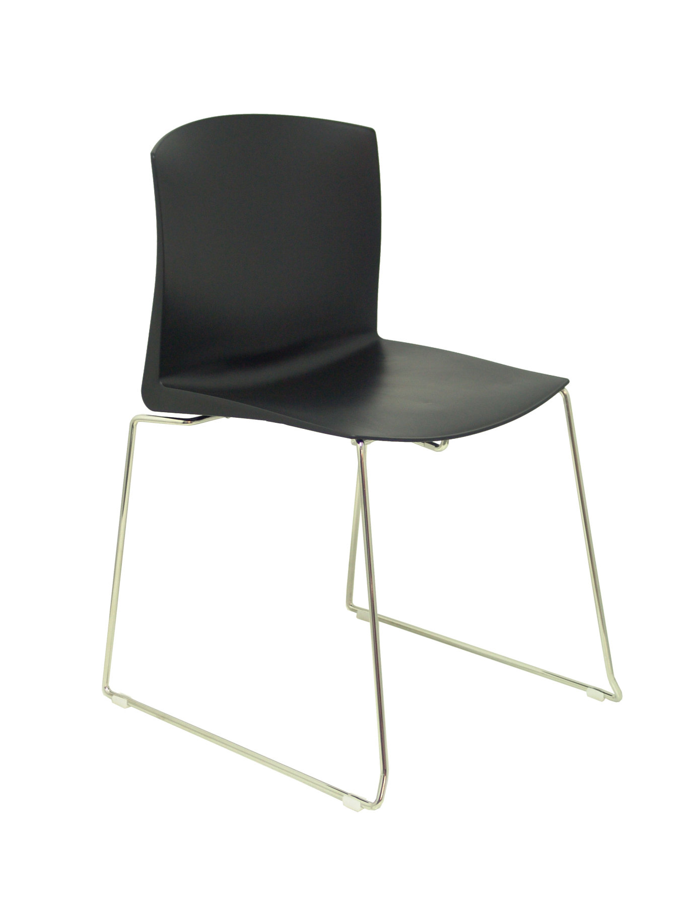 Pack 4 Confident Chairs Ergonomic Stackable And With Rod Structure Chrome. Seat And Back Color PVC
