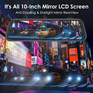 "Image 4 - AZDOME PG02 Night Vision Car Dvr Camera Rearview 10"" Streaming Media Mirror Video Recorder Camcorder Dash Cam FHD 1080P dual len"