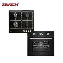 Комплект встраиваемой техники AVEX: варочная панель HS 6044 B и электрическая духовка HM 6170 B(панель черная эмаль, чугун. решетки, конфорка WOK и электроподжиг, духовка стекло, гриль, конвекция, 56л, 7 режимов
