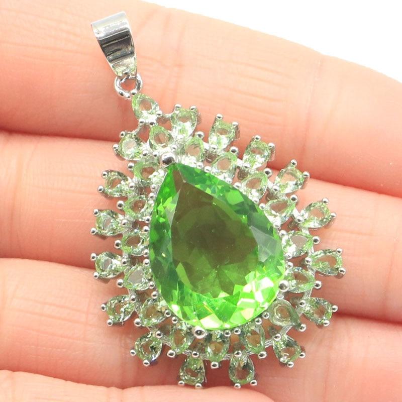 47x29mm Classic Big Size Created Green Tsavorite Garnet Gift For Woman's Silver Pendant