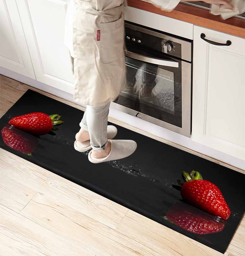 Else Black Floor On Red Strawberry Fruits 3d Print Non Slip Microfiber Kitchen Counter Modern Decorative Washable Area Rug Mat