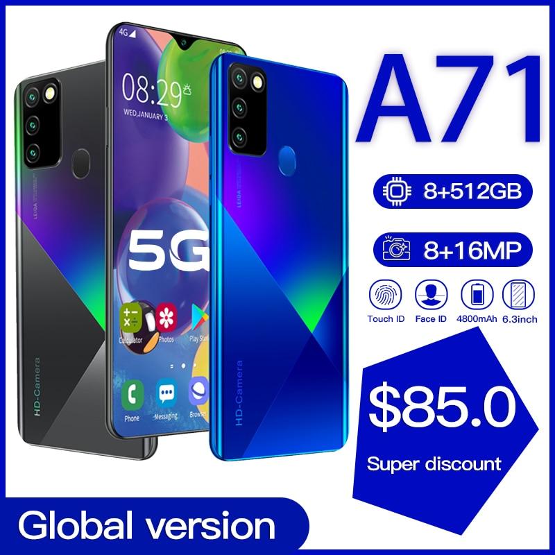 Глобальная версия Galay A71 8 ГБ 512 5G смартфон 6,8» MTK6598 10-ядерный подключается к сети 4g мобильные телефоны Android 10 Мобильный телефон Смартфон