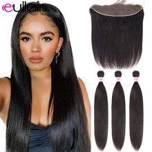 Eullair Gerade Haar Bundles Mit Frontal Remy Menschliches Haar Bundles Mit 13x4 Spitze Frontal 3/4 Bundles Mit Frontal 10-28 zoll(China)