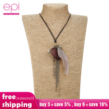 цена на Bohemia Ethnic Women's Feather Pendant Necklaces Long Leather Sweater Rope chain Choker tassel necklaces for women wholesale