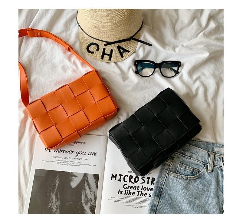새로운 패션 여성 정품 가죽 어깨 가방 편직 커버 hasp 플랩 핸드백 23cm-에서탑 핸드백부터 수화물 & 가방 의  그룹 1
