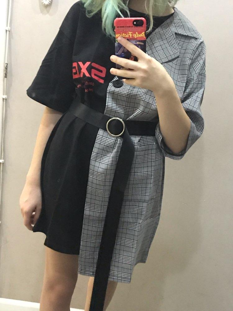 Street Plaid Stitching Irregular Dress Women Printed High Waist Lace Summer Dress Casual Loose Mini Dresses Vestido photo review